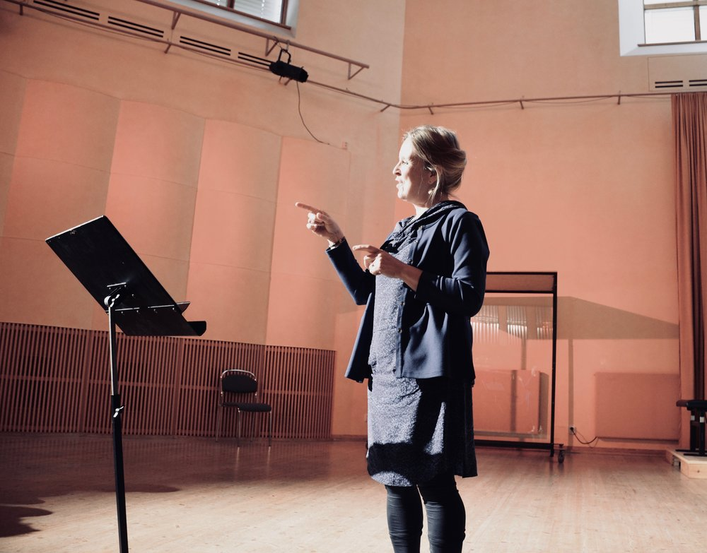 Prof. Karin Nelson lectures to members of Boston Organ Studio at Göteborg University.
