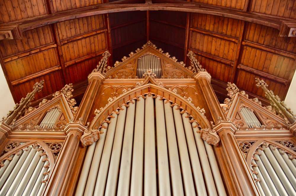 Façade detail, 1861 Marcussen & Søn organ in Haga Church, Göteborg, Sweden.