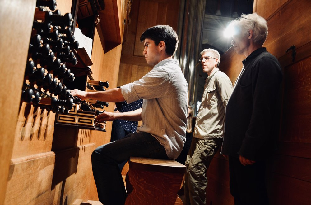 Hans Davidsson observes Brandon Santini playing the 2000 GoART North German Baroque Research Organ in Örgryte New Church, Göteborg, Sweden.