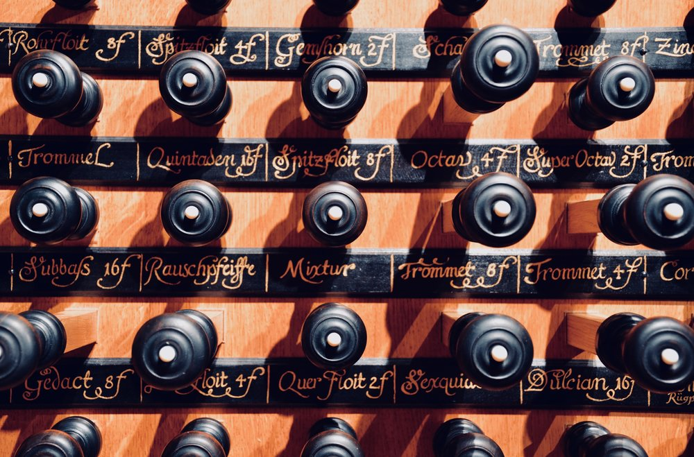 Stopknob detail, 2000 GoART North German Baroque Research Organ in Örgryte New Church, Göteborg, Sweden.