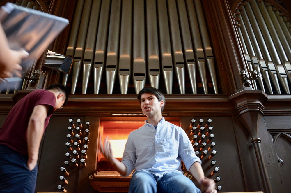 Brandon Santini at the 1861 Marcussen organ in Haga Church, Göteborg, Sweden.