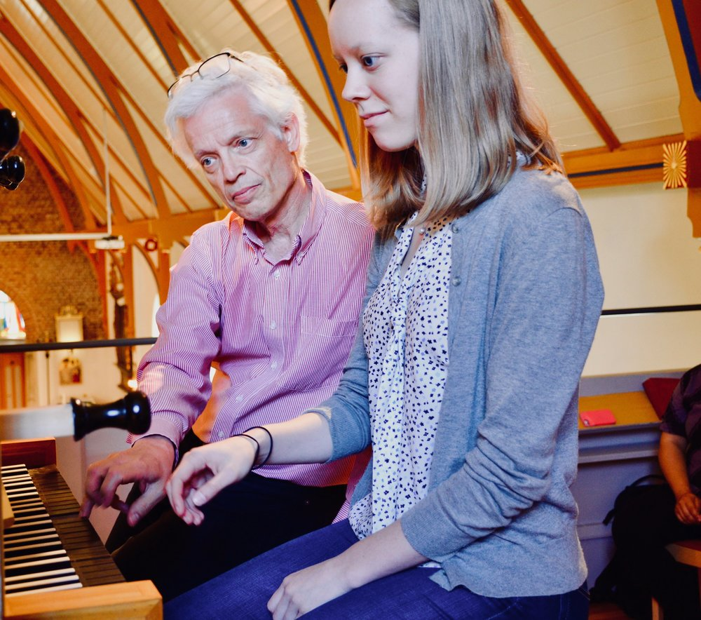Hans Davidsson coaches Laura Gullett on the 1783 Schiörlin organ in Jonsered, Sweden.