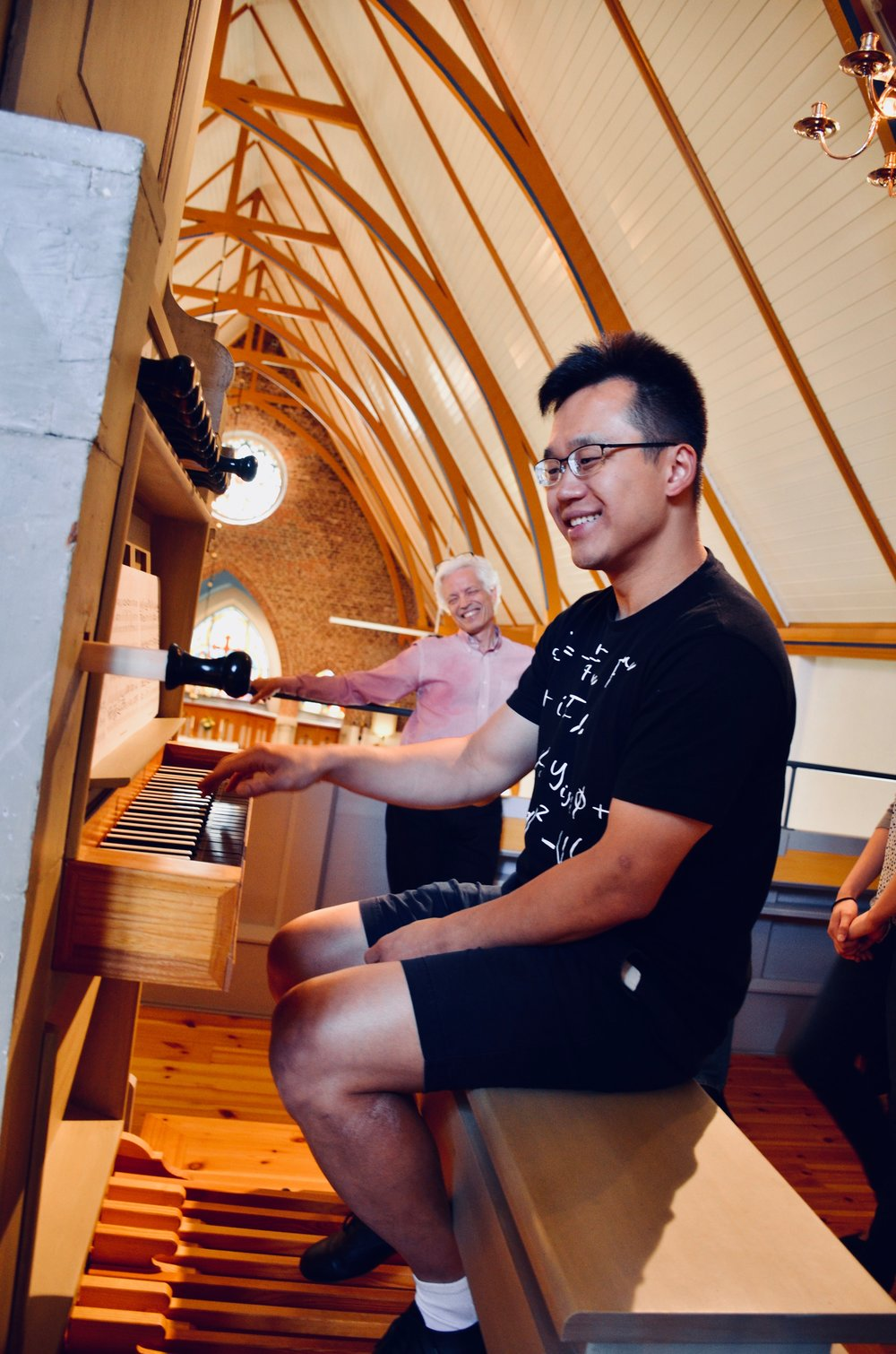 Hans Davidsson coaches Adrian Cho on the 1783 Schiörlin organ in Jonsered, Sweden.