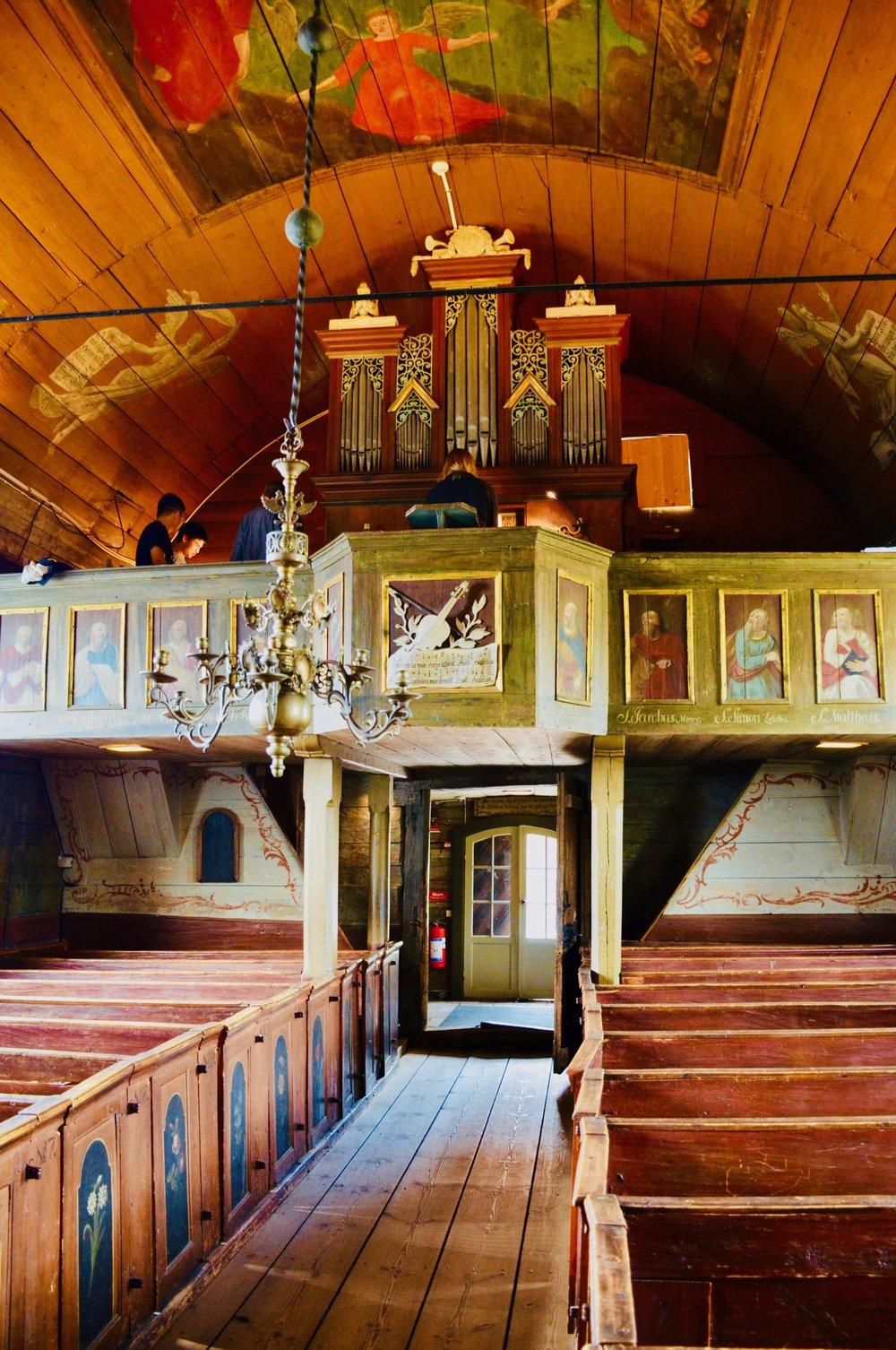 The historic organ in the 1652 chapel, Kulturen, Lund, Sweden.