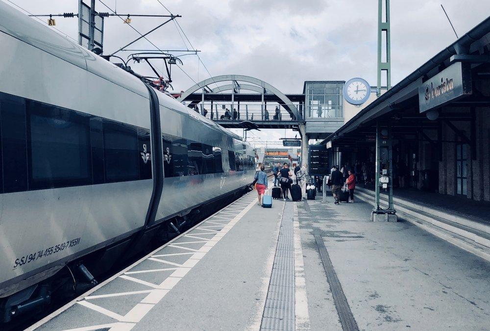 The high-speed train to Lund, Sweden.