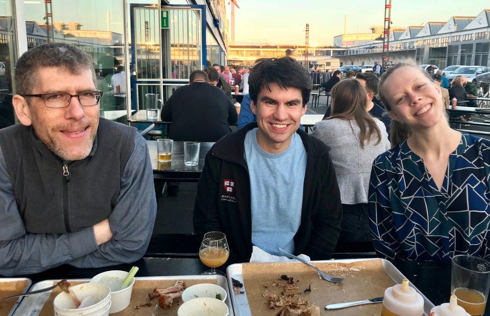 Chris Porter, Brandon Santini, and Laura Gullett enjoying dinner at Warpigs in Copenhagen.