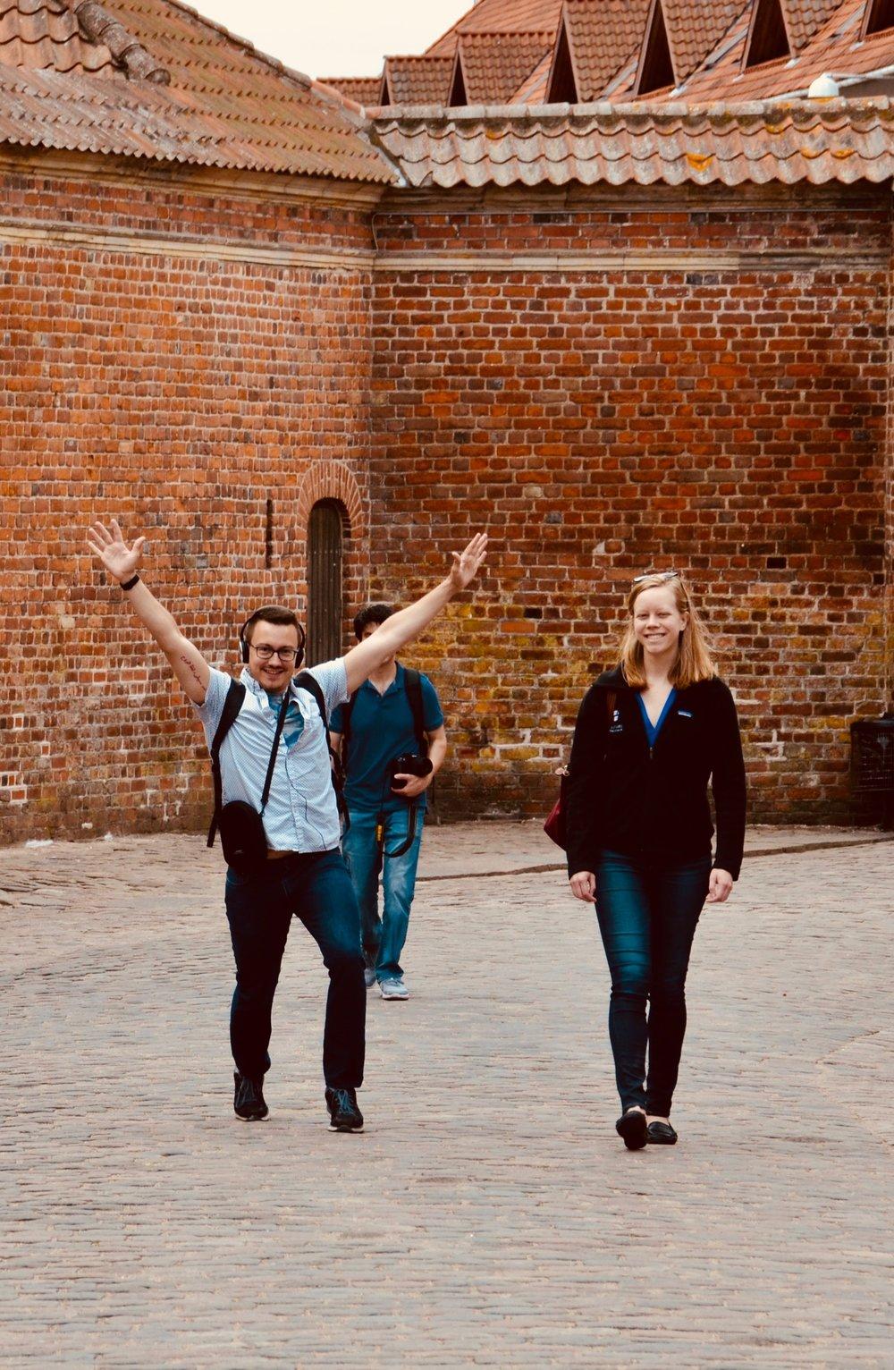 Corey De Tar and Laura Gullett arrive at Frederiksborg Castle, Hillerød, Denmark.