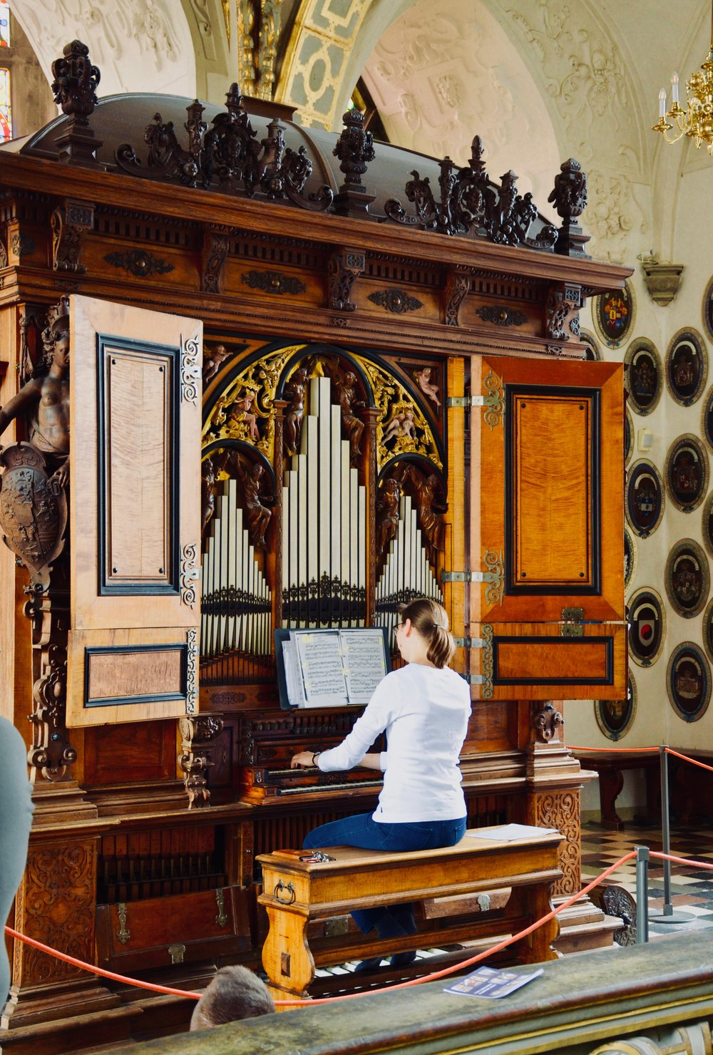 Castle organist Bine Bryndorf performs on the 1610 Compenius organ, Frederiksborg Castle, Hillerød, Denmark.
