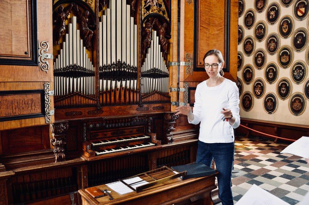 Castle organist Bine Bryndorf introduces the 1610 Compenius organ, Frederiksborg Castle, Hillerød, Denmark to members of Boston Organ Studio.