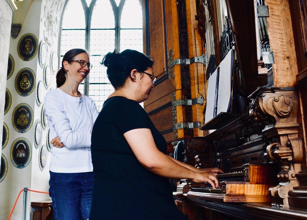 Castle organist Bine Bryndorf coaches Jennifer Hsiao, 1610 Compenius organ, Frederiksborg Castle, Hillerød, Denmark.