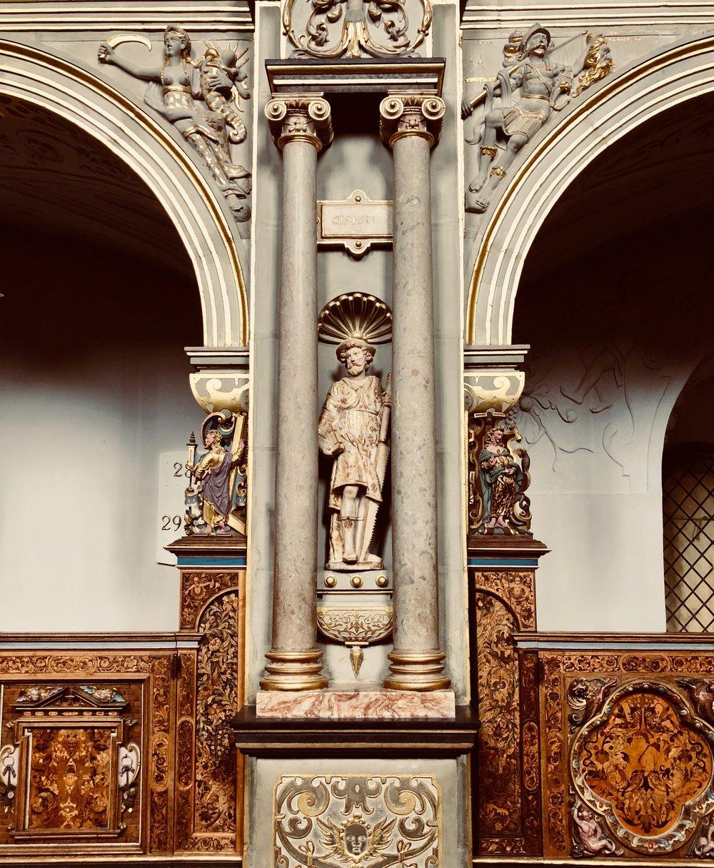 Statuary detail, Chapel, Frederiksborg Castle, Hillerød, Denmark.