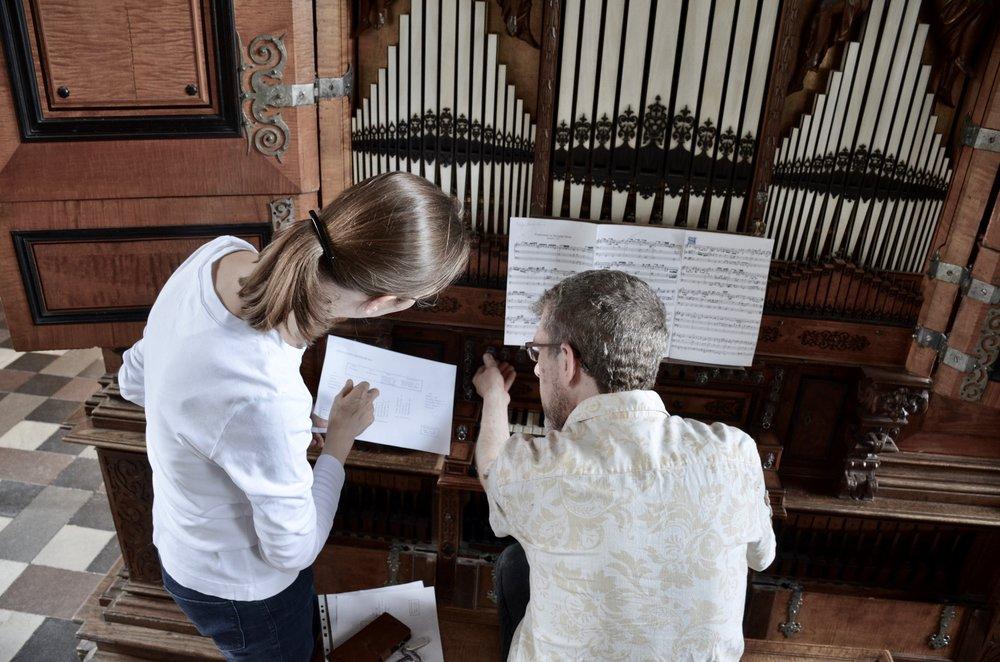 Castle organist Bine Bryndorf coaches Chris Porter on Buxtehude, 1610 Compenius organ, Frederiksborg Castle, Hillerød, Denmark.