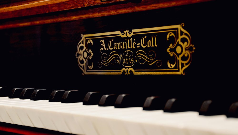 Nameplate detail, 1890 Cavaillé-Coll organ, Jesuskirke, Copenhagen.