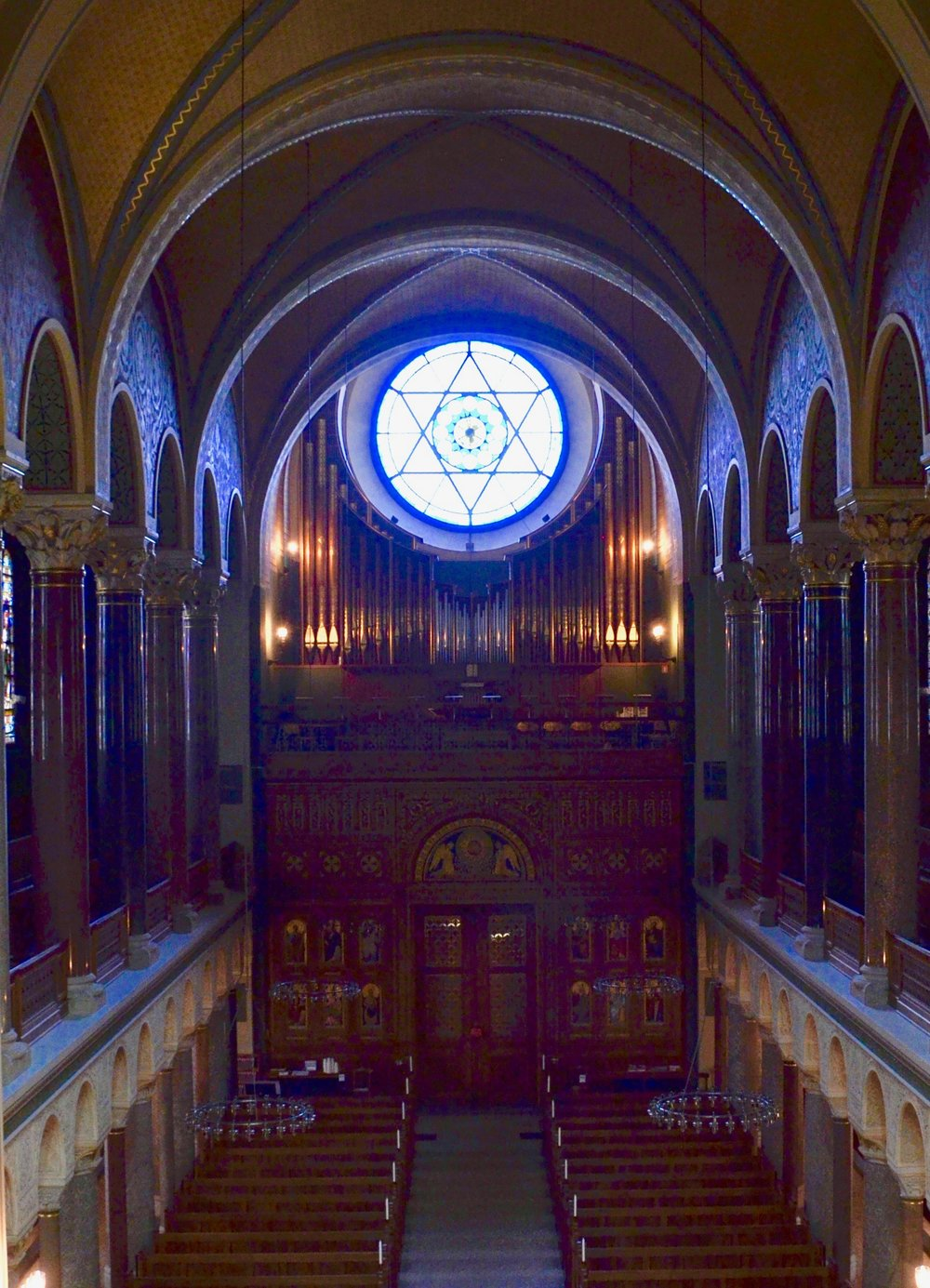 The modern rear-gallery organ, Jesuskirke, Copenhagen.