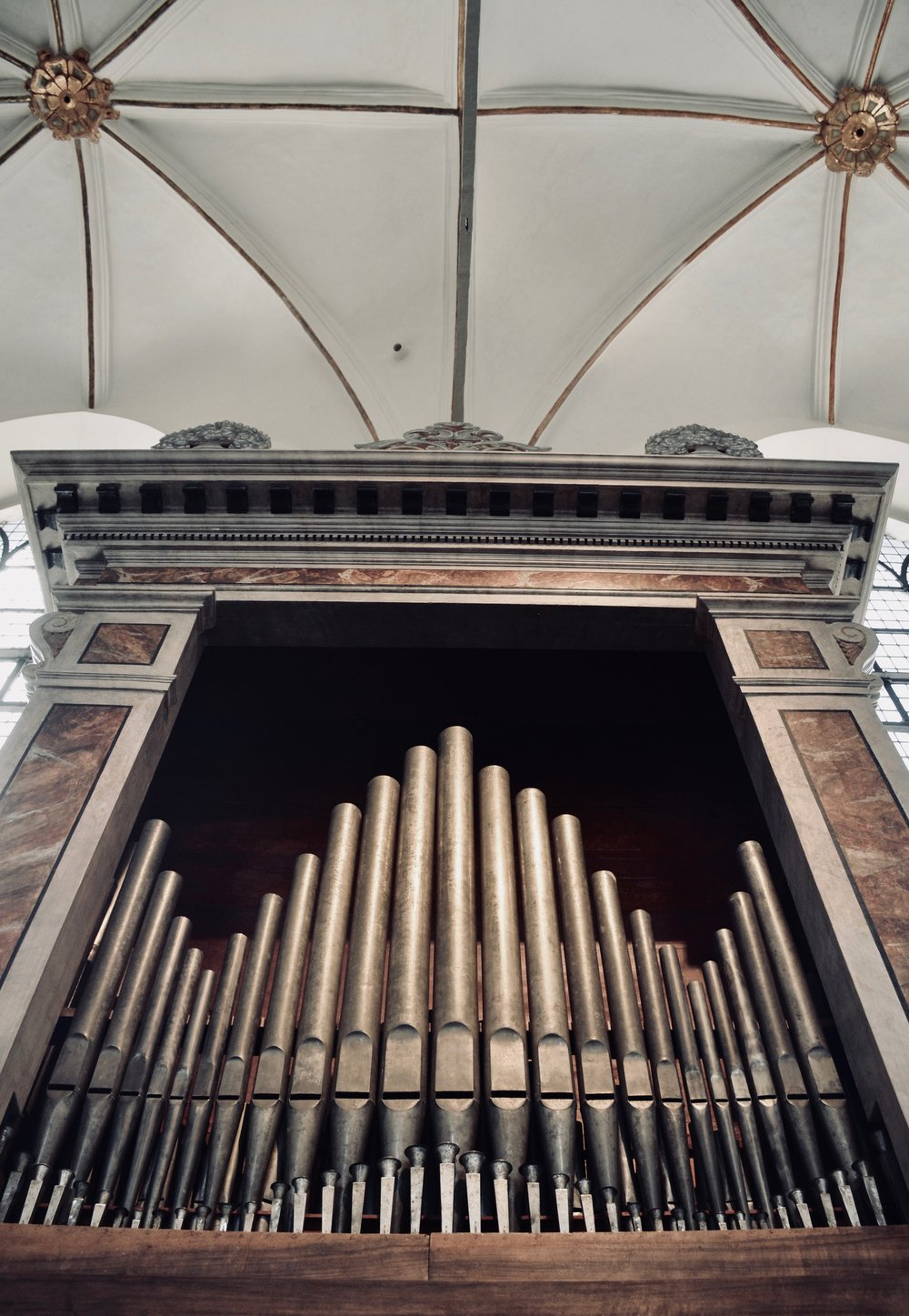 The Italian baroque organ in Trinitatis Kirke, Copenhagen.