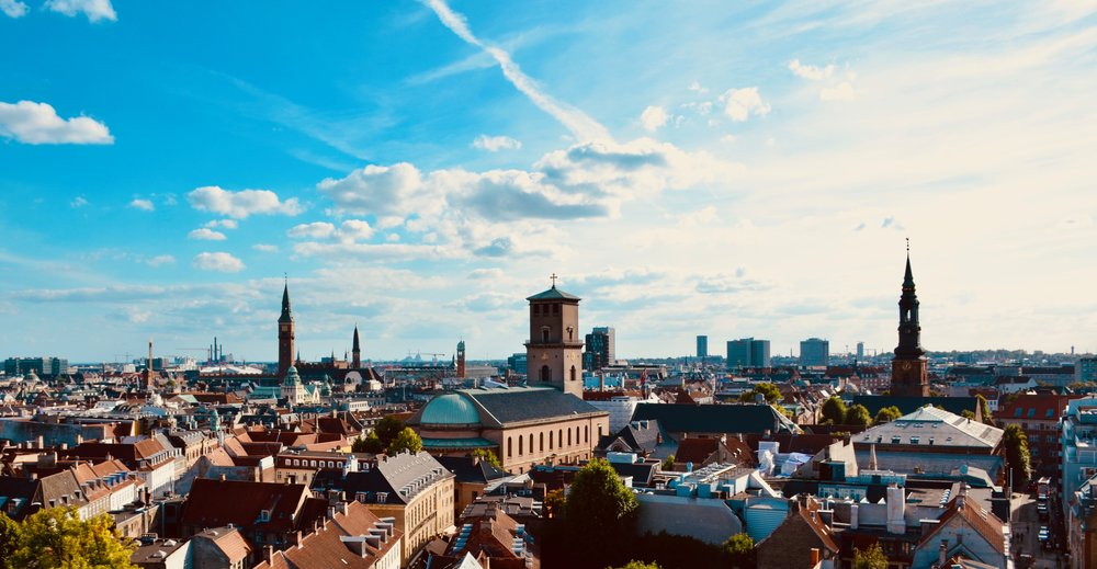 A view over Copenhagen from the tower of Trinitatis Kirke, Copenhagen.