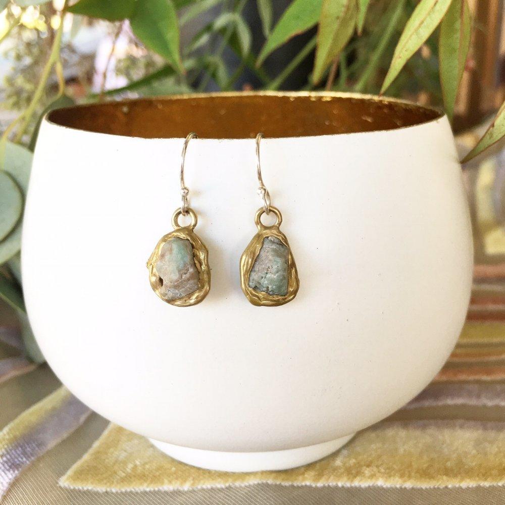 Emerald + Brass Drops