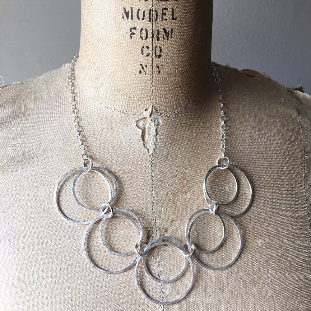 Hammered Hoops Necklace