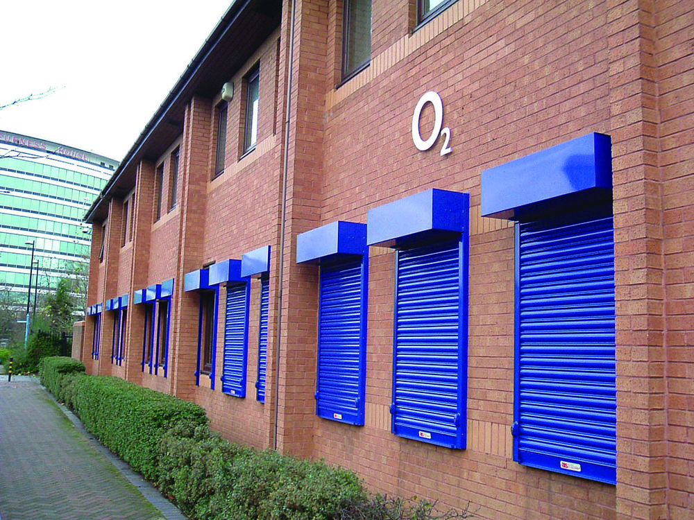 Blue roller shutters on O2 building