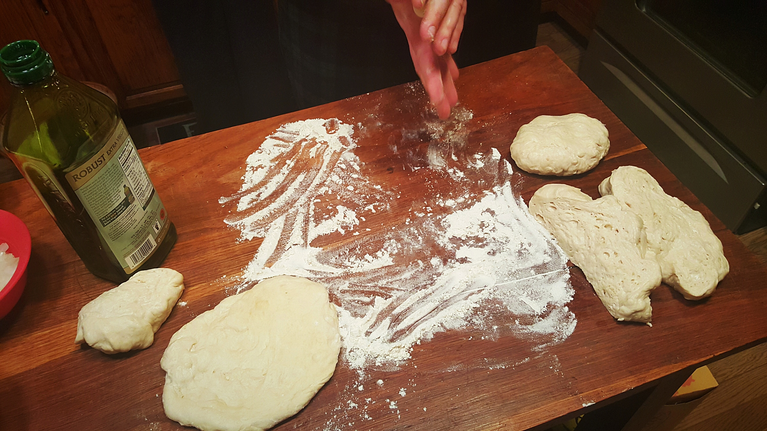 Pizza night- making dough