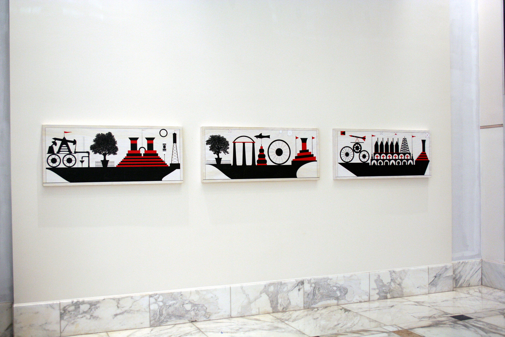 Installation of Floating, 2006, acrylic on plywood panel, 20 x48 inces each.jpg