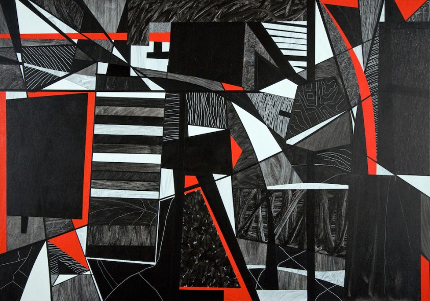 Red White and Black, 2010, acrylic on canvas, 48x68 inches (In Halsey Exhibition)