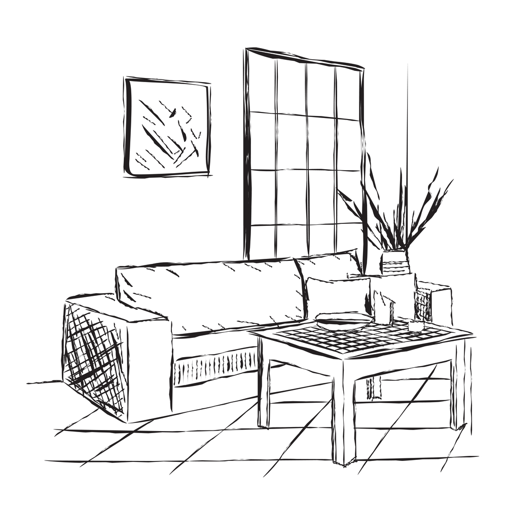 Rough illustration of an outline sketch of a living room.
