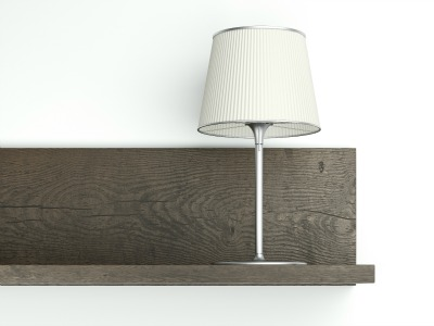 Dark shelf on the wall with lamp isolated on a white background. 3d render