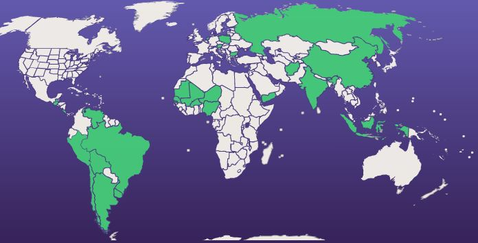 STUDENTS FROM ACROSS THE WORLD HAVE APPLIED TO THE US USING SERVICES PROVIDED BY STUDY AMERICA. THIS MAP SHOWS WHICH COUNTRIES THE STUDY AMERICA UNDERGRADUATE PROGRAM HAS PLACED STUDENTS FROM IN THE PAST.