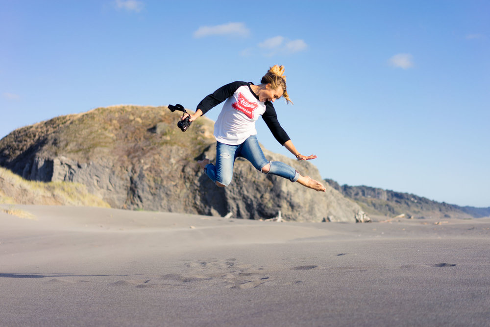 Mak showing her ups on the Oregon coast
