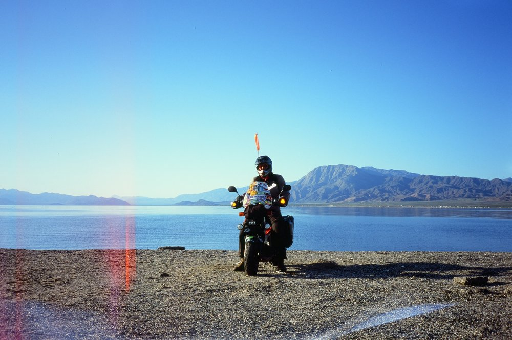 Mike & his Honda Ruckus, La Gringa, Baja California