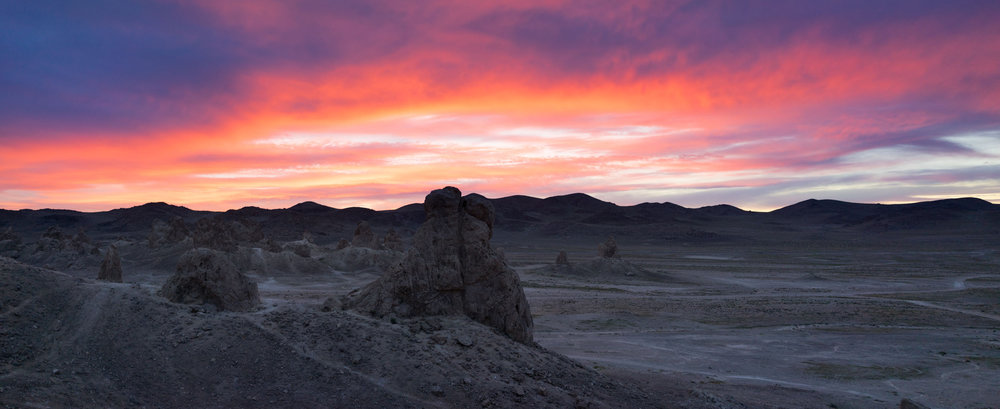 Sunset at Trona Pinnacles, California