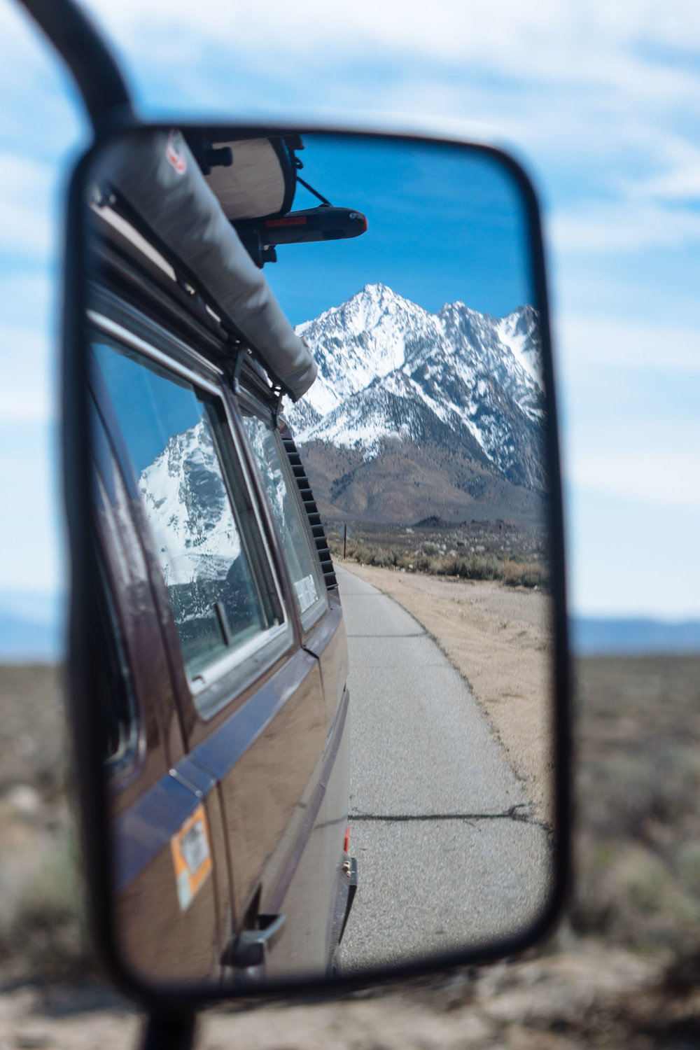 Sierras in the side view mirror