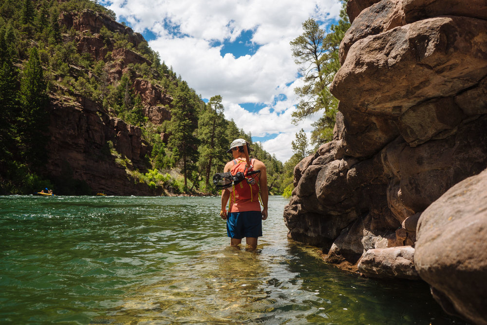 Owen exploring the Green River, Flaming Gorge, Utah