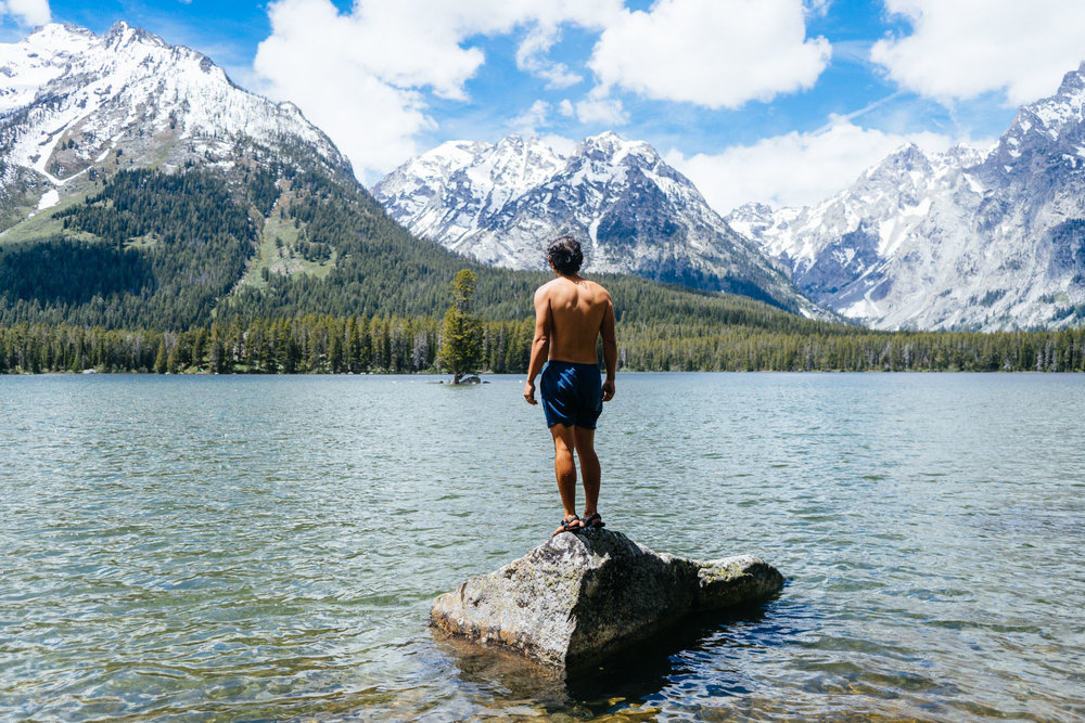 Owen taking a dip in Grand Teton NP