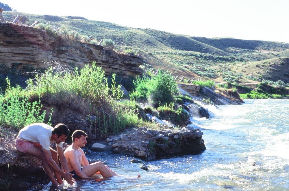 Tom & Jamie taking a dip in the hot springs, Yellowstone NP