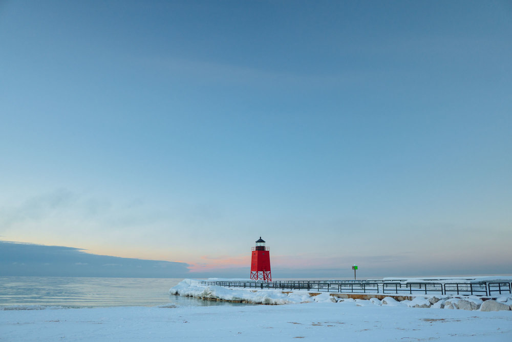Frosty Charlevoix lighthouse. Temperature at the time of this image was 4 degrees.