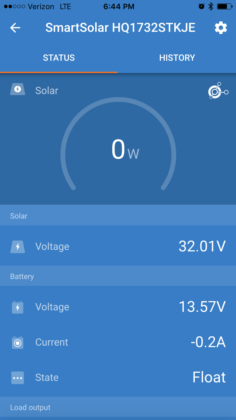Status from charge controller