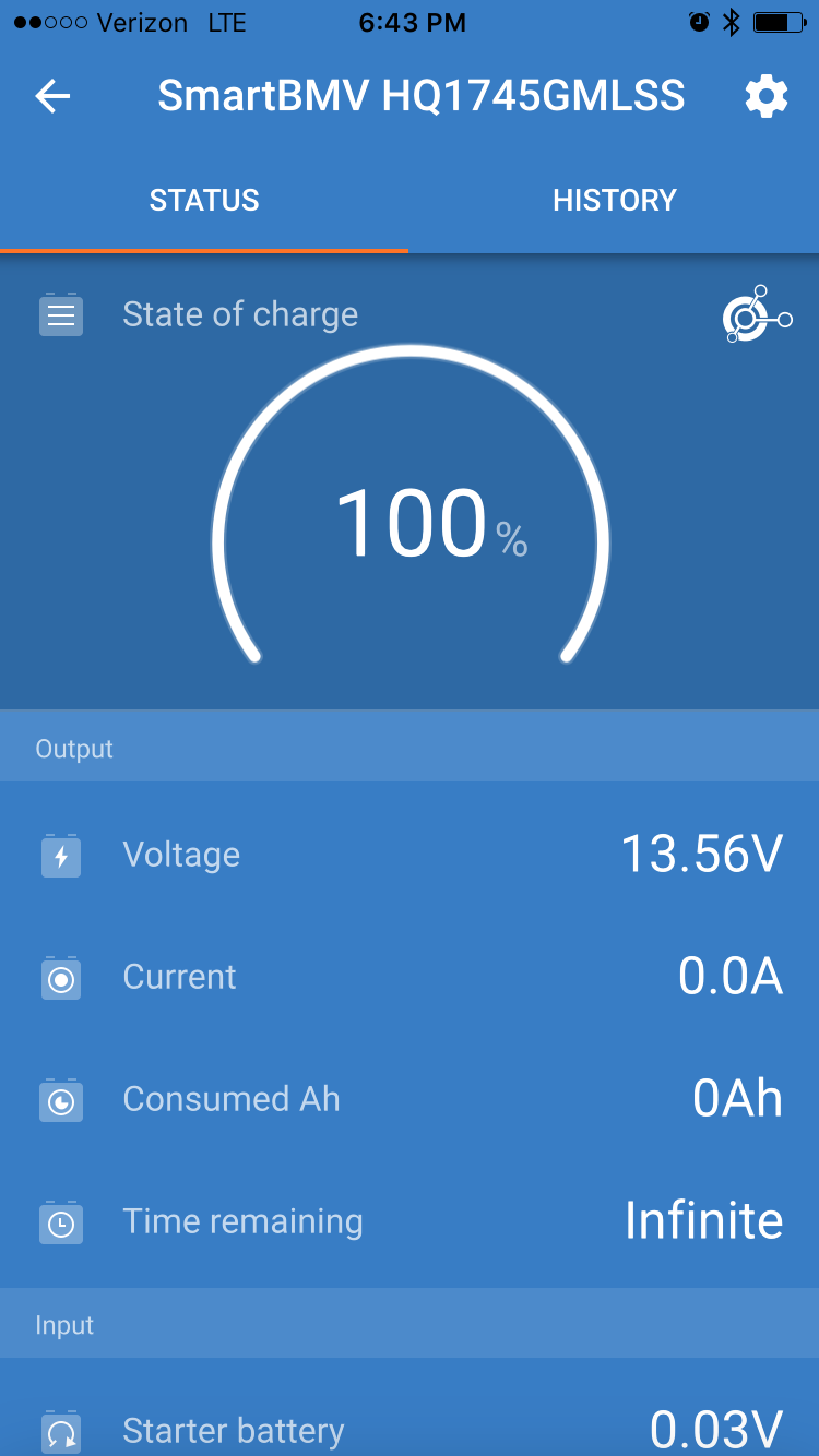 Status from battery monitor