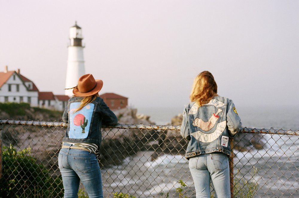 Lindsay and MAK at the Portland Head Lighthouse, 35mm film