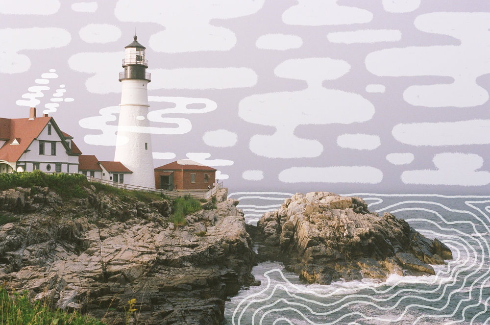 Illustration by MAK over Portland Head Lighthouse, 35mm