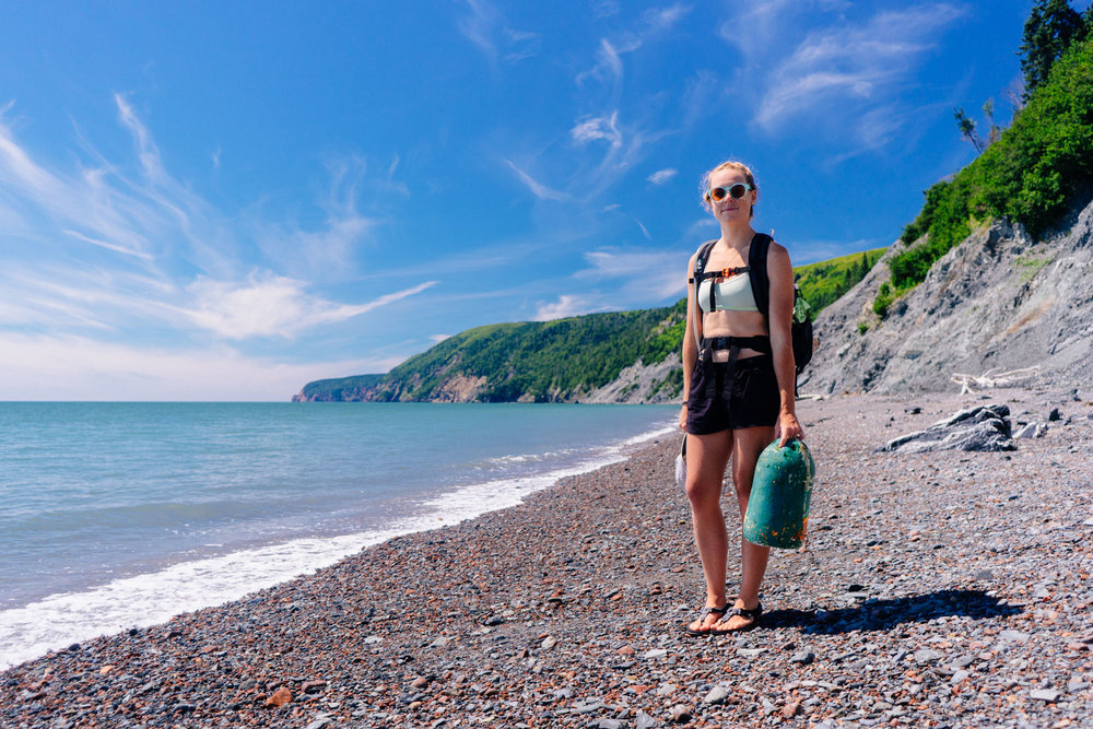 Cleaning up the beach as we go Cape Chignecto, NS