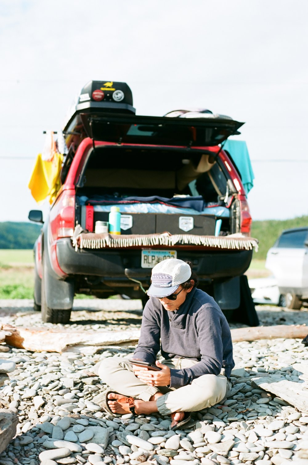Chilling at camp on The Bay of Fundy, 35mm