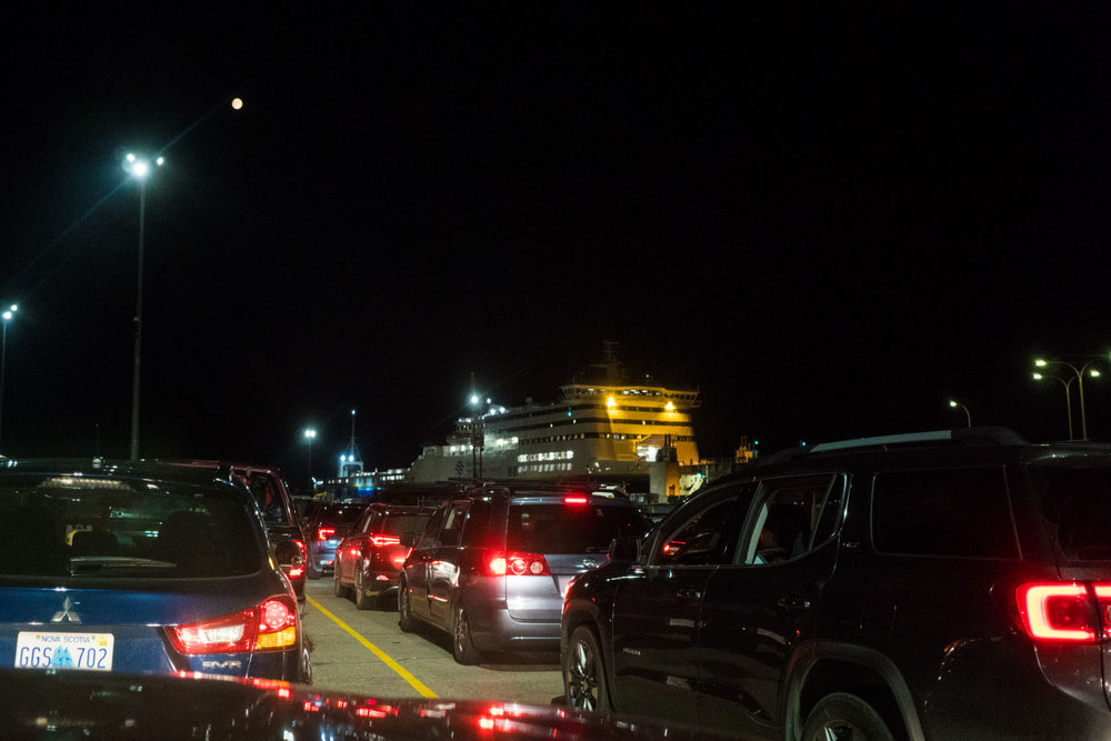 Line leading to our ferry to Port aux Basques, Newfoundland