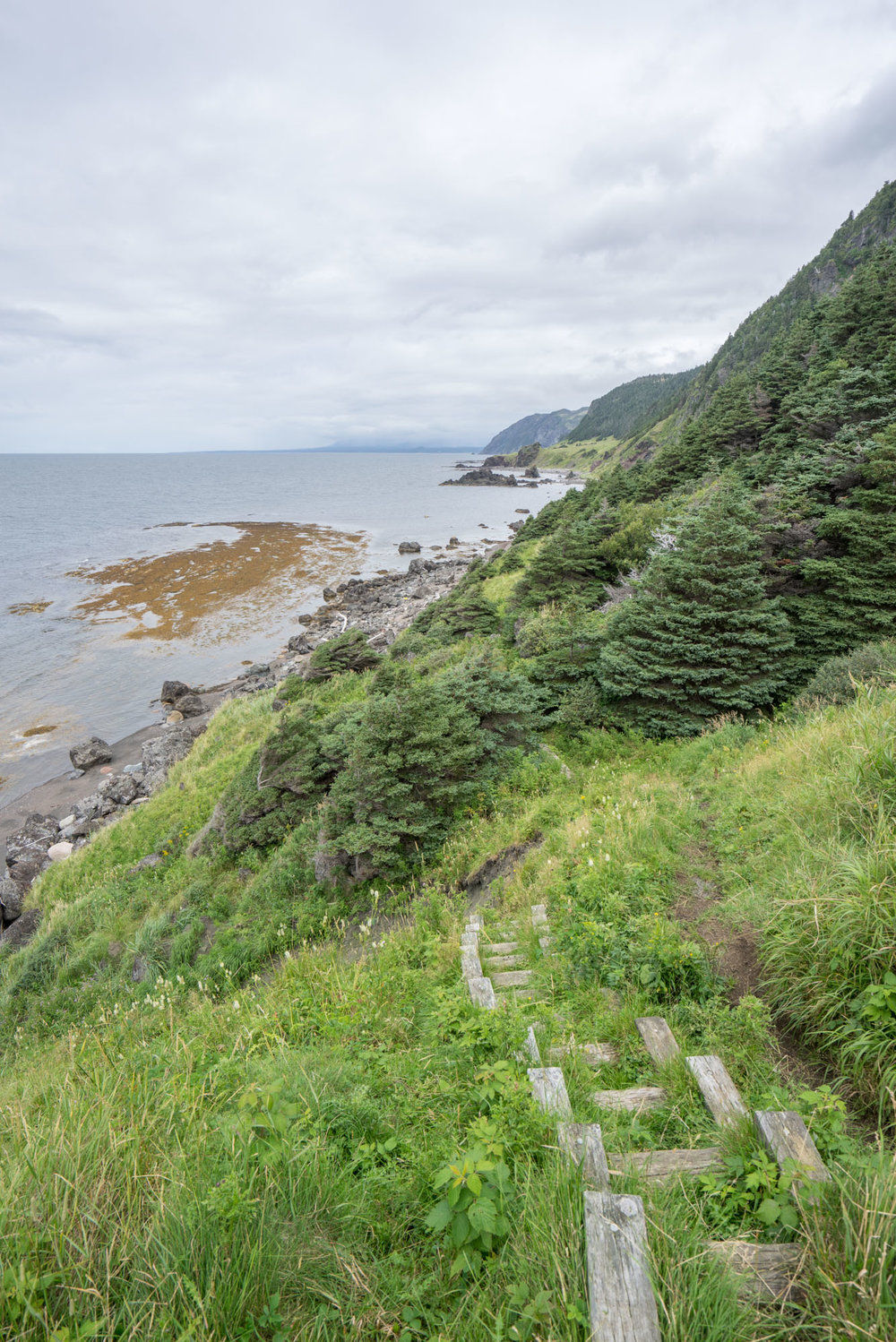 Where the Green Gardens Trail ends due to cliff-line erosion.