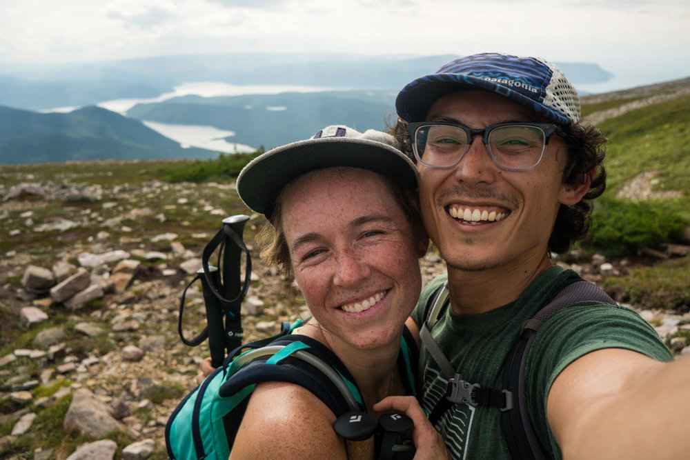 Happy hikers over the hardest part of the climb
