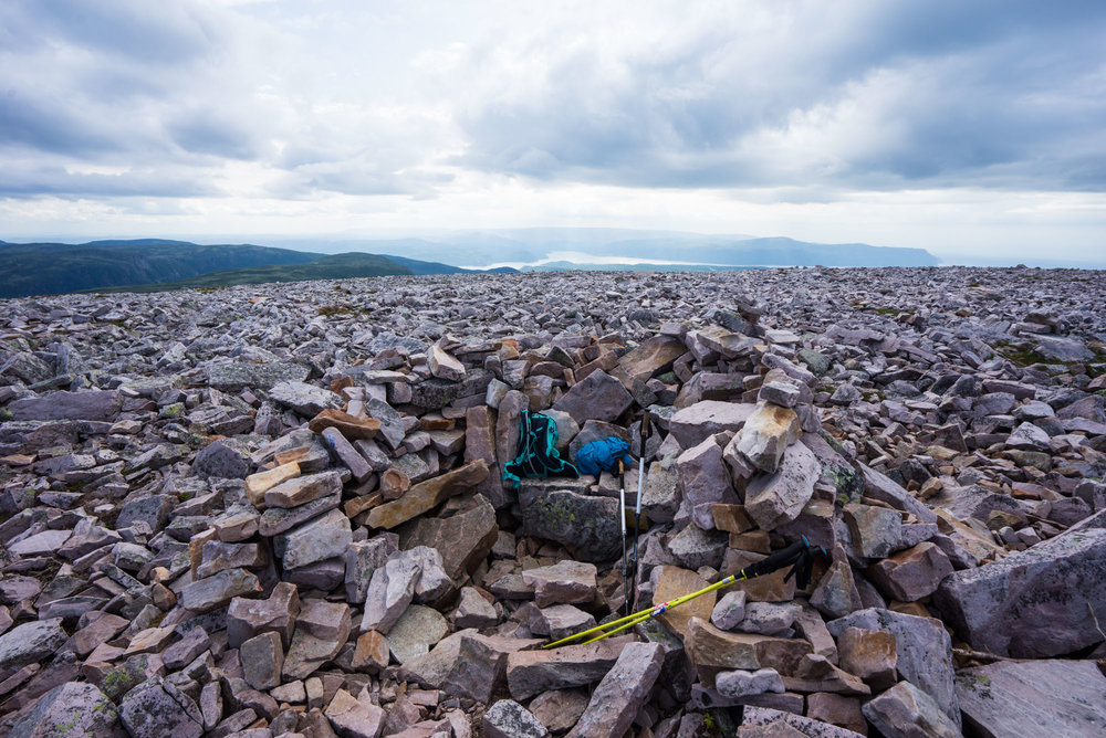 People created little hideouts from the strong winds on top of Gros Morne