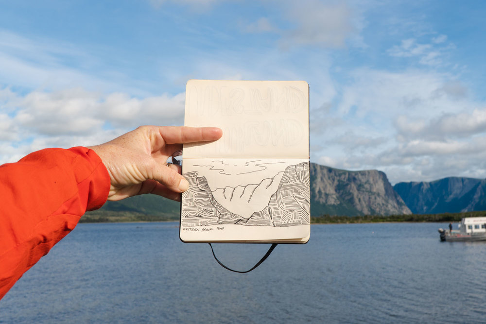 MAK's drawing of the mountains surrounding Western Brook Pond