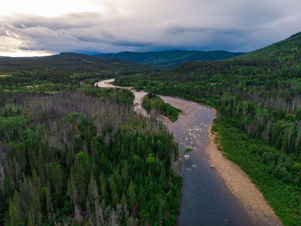 Drone shot of camp one night on the Trans Labrador HWY