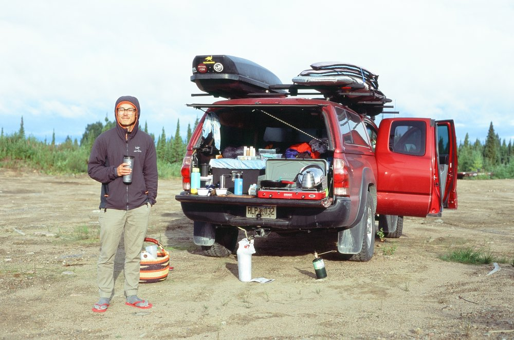 Owen at camp on the Trans Labrador HWY, 35mm
